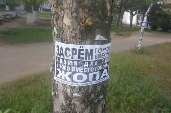 """""""Засрём город вместе"""" - листовки на деревьях в Корабельном районе   Корабелов.ИНФО"""