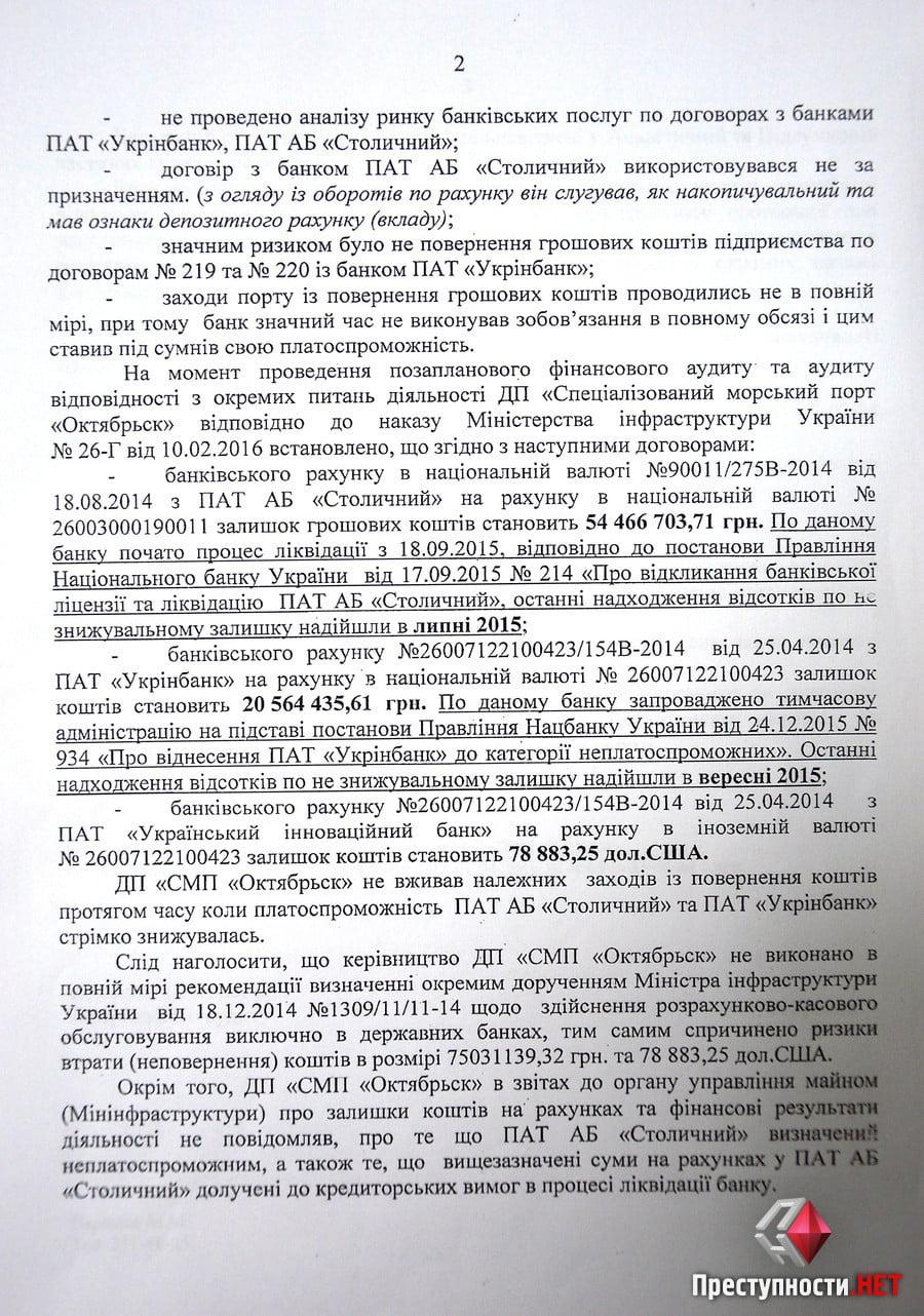 Из-за бездействия экс-руководства спецпорт «Октябрьск» может потерять 77 миллионов гривен, - результаты аудита   Корабелов.ИНФО image 2