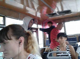 в маршрутке - под зонтом (фото из архива)