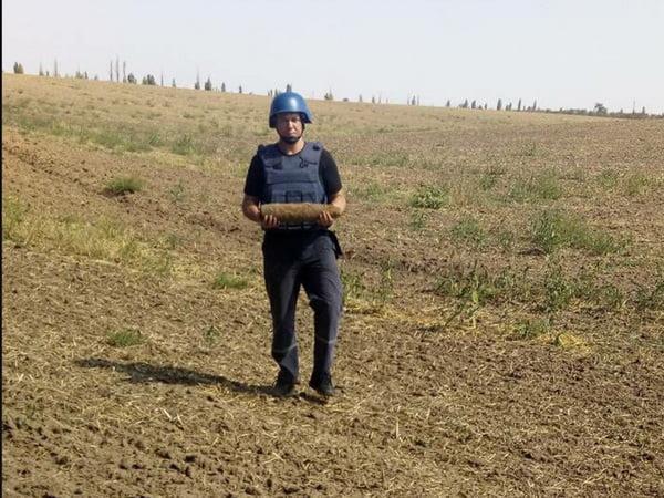 Шляхом підриву знищено артилерійський снаряд, знайдений чоловіком біля села Галицинове