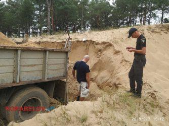 незаконная добыча песка в Балабановском лесу