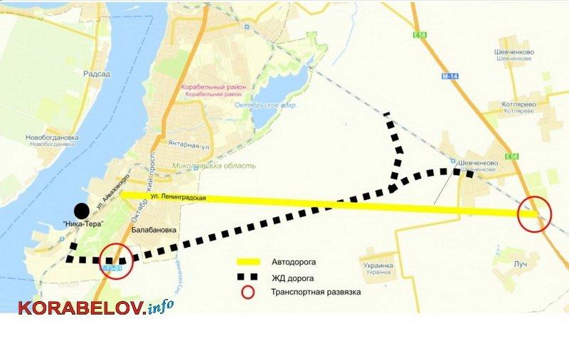 план объездной дороги к портам в Корабельный район Николаева