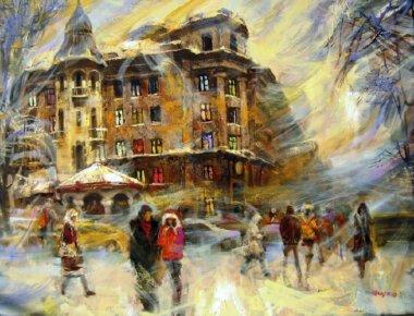 Николаевский художник изобразил рождественское и новогоднее волшебство на улицах города