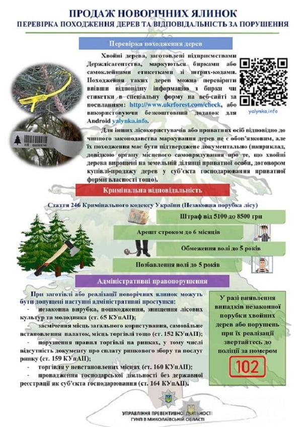 Миколаївська поліція виявлятиме факти незаконної реалізації хвойних дерев та просить допомоги у мешканців