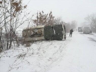 На Николаевщине из-за гололеда перевернулся бензовоз – обошлось без пострадавших