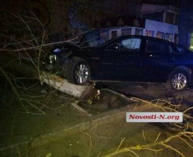 Ночью в Николаеве пьяный водитель на BMW въехал в дерево