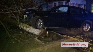 Photo of Пьяный зять члена николаевского исполкома на BMW въехал в дерево