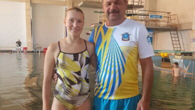 Елена Федорова и тренер Сергей Гуменюк