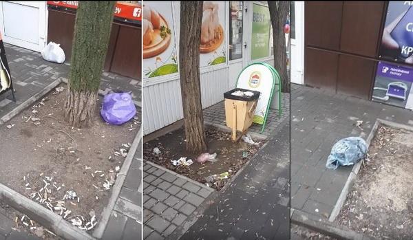 мусор возле МАФов напротив пр. Богоявленского, 340 пр.
