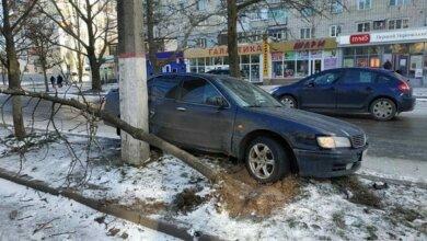 Скользко на дороге: в Корабельном районе «Ниссан» свалил два дерева и врезался в столб   Корабелов.ИНФО