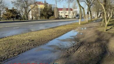 грязь на тротуаре вдоль пр. Богоявленского (остановка Универсам)