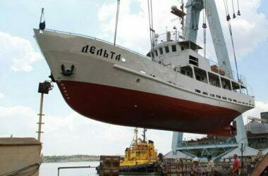 """судно """"Дельта"""": спуск на воду"""