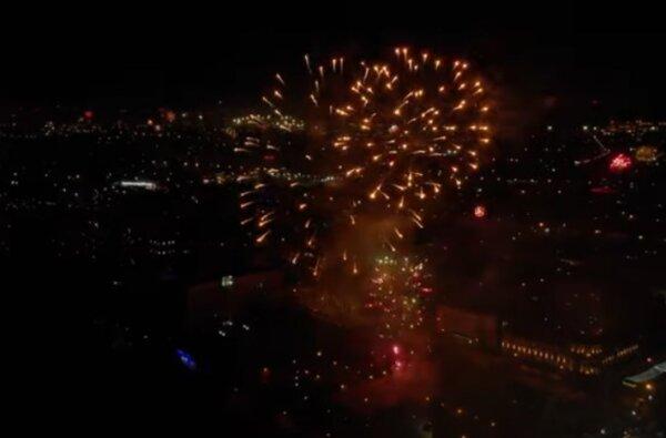 Новогодний салют-2021 в Николаеве показали с высоты птичьего полета. ВИДЕО   Корабелов.ИНФО