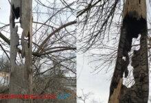 аварийный столб в Балабановке