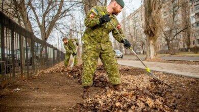 Канадские военные инструкторы убрали прошлогоднюю листву в Николаеве | Корабелов.ИНФО image 1