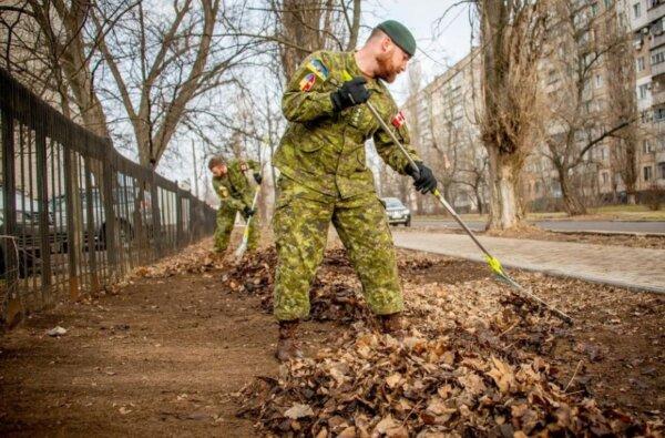 Канадские военные инструкторы убрали прошлогоднюю листву в Николаеве   Корабелов.ИНФО image 1