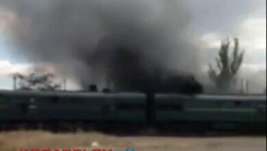 дымящий поезд в Корабельном районе г. Николаева (август 2020)