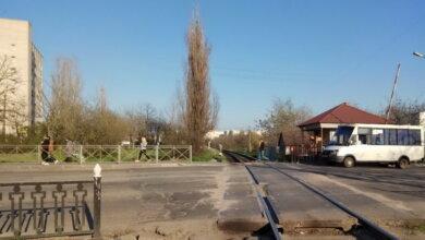 ж/д переезд, железная дорога в Корабельном районе г. Николаева