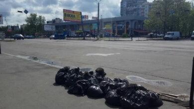 пакеты с мусором у пр. Богоявленского