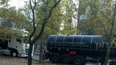 грузовики с битумом на пр. Корабелов в Николаеве