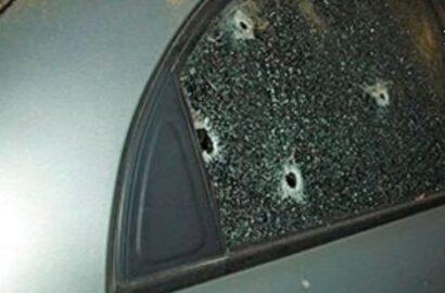 простреленное стекло авто